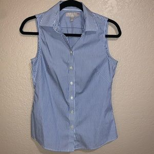Banana Republic Blue/White Striped Button-up Top
